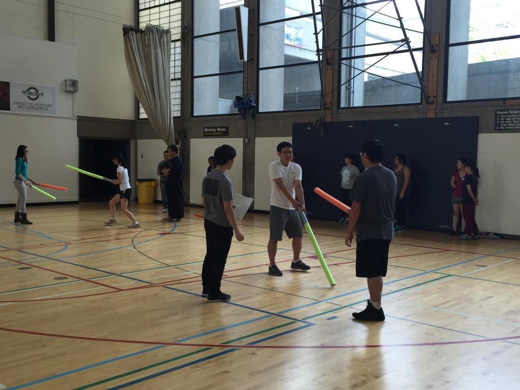Club members test their (foam) sword skills!